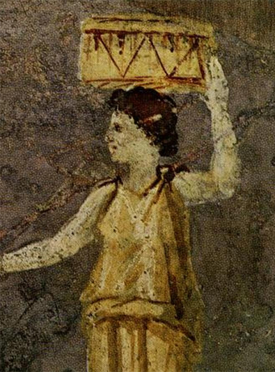 Hipparchia of Maroneia. Detail from a Roman wall painting in the Villa Farnesina in Rome